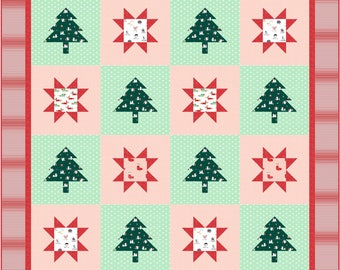 Stars and Trees Two Quilt ePattern, 5055-1e, twin quilt pattern, christmas twin quilt
