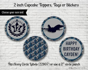 "Navy and Gray Camouflage 2"" Cupcake Toppers or Tags"
