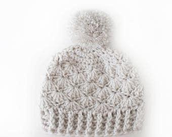Girls Pom Pom Hat / Girls Winter Hat / Girls Beanie / Baby Girl Hat / Gift For Girls / Crochet Baby Hat / Hats For Girls / Newborn Girl Hat
