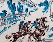 "Vintage 1950s Western Cowboys, Fences, Cactus Cotton Fabric Yardage,  35 1/2"" x 54.5"", Great Teal Color"