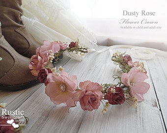 Dusty Rose Flower Crown ~ Bridal Flower Crown ~ For Flower Girl or Bridesmaid ~ Available in Child and Adult Size.