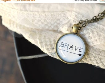 BIRTHDAY SALE Brave Necklace with Card - Inspirational Jewelry - Be Brave Necklace - Be Brave - Be Brave Charm - Word Necklace - Arrow Neckl