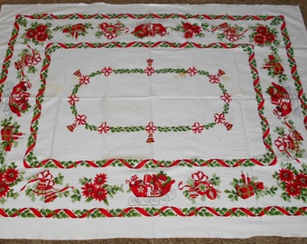 Vintage Christmas Tablecloth   Holiday Tablecloth   Vintage Holiday  Tablecloth