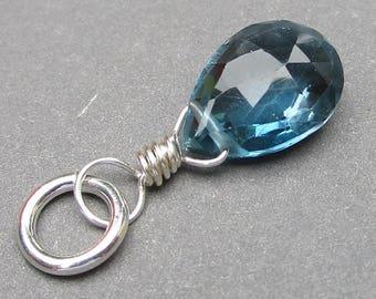 London Blue Topaz Pendant, Sterling Silver Wire Wrapped Pendant, London Blue Topaz Charm, London Blue Topaz Jewelry, Stone 6