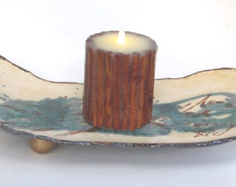 Large Ceramic Candle Holder With Candle Abstract Clay Centerpiece Contemporary Modern Pottery Art Tray Fine Ceramic Art Decorative Dish