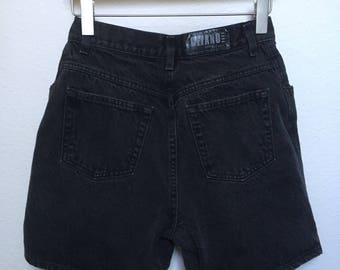 "Vintage black denim shorts Gitano 1980s 1990s, 90s black denim shorts, high waisted vtg, 80s black jean shorts high rise, waist size 26"" 27"""