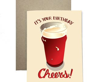 Beer Glass Pint / It's Your Birthday Cheers! / Raise a Glass / Celebration Toast / Hand Lettered Original Card by Flopsock Designs / BBD-03