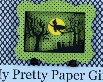 Halloween Shadow Box, Halloween Diorama, Halloween Decoration, Halloween 3D, Flying Witch on Broom, Cemetery,Full Moon , OOAK