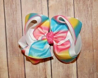 SSD Rainbow Hombre Tie Dye Multi Color Hair Bow