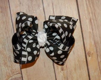 SSD Black & White Dots and Stripes Hair Bow