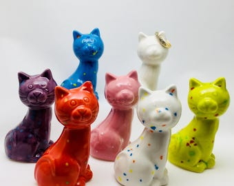 Ceramic Pop of Color Kitty Cat figurine~Birthday gift~Ring holders