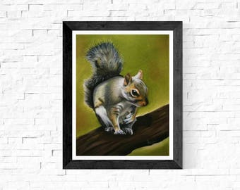 Woodland Squirrel Art/Squirrel Art Painting/Wildlife/Nature/Rustic Wall Decor/Squirrel Wall Hanging/Squirrel Nursery Wall Decor/ Fine Art