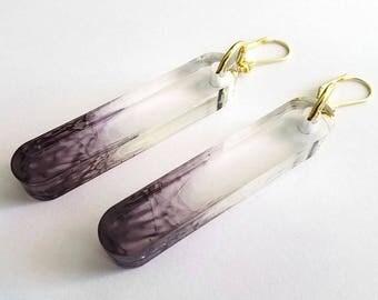 TUBULAR Smoke Ombre Statement Earrings - minimal jewelry, lucite jewelry, modern earrings, big earrings, laser cut earrings, clear earrings