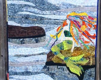 "Mermaid art quilt, 42""x45"""