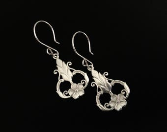 Sterling Silver Earrings, Sterling Silver Jewelry, Flower Earrings, Filigree Earrings, Drop Earrings, Dangle Earrings, Elegant Earrings