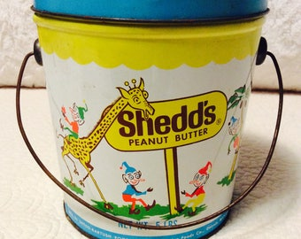Vintage 1960s SHEDDS Peanut Butter Tin Box Pail Elf Great Condition Vintage Advertising
