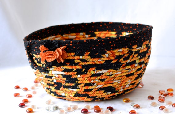 Halloween Fall Decoration, SALE. Handmade Halloween Candy Bucket, Decorative Fall Basket, Hand Coiled Fabric Basket, Black and Orange Decor