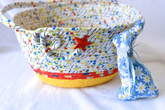 Boy Easter Basket, Handmade Easter Bucket, Baby Boy First Basket, Boy Easter Egg Hunt Bucket, Blue Coiled Fabric Basket, 1 Handle