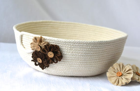 Rustic Rope Bowl, Handmade Minimalist Quilted Basket, Modern Artisan Clothesline Basket  hand coiled natural rope basket