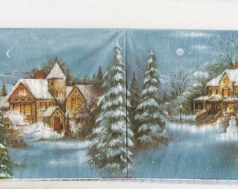 3135 - Set of 4 napkins in the snow village