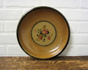 Monroe Salt Works Large Shallow Serving Bowl with Chippendale Rose Monroe Maine