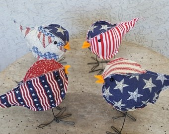 fabric stuffed patriotic birds red white and blue farmhouse decor 4th of July Flag Day stars and stripes