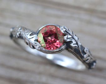 Ruby Leaf Ring, Silver Ruby Leaves Ring, Leaf Ruby Ring, Ruby Leaves Silver Ring, Friendship Forest Ring, Natural Floral Silver Ruby Ring