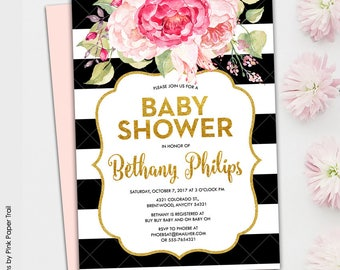 Pink Floral Glam Black and White Stripes and Gold Glitter Printable Baby Shower It's a Girl Printable Invitation