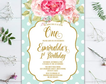 Sweet Pink Floral and Mint Polka Dots Birthday Party Printable Invitation, Pink and Mint Invitation, Peony Invitation, Polka Dot Invitation