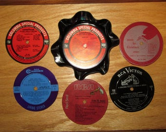 Recycled Record Coasters Set of 5 with Melted Record Bowl