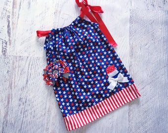 REAYD TO SHIP Size 18-24 Months 4th of July Stars and Stripes Popsicle Pillowcase Dress with Matching Hair Bow