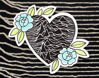 Joy Division Unknown Pleasures Tattoo Flash Heart Roses STICKER by Michelle Kent