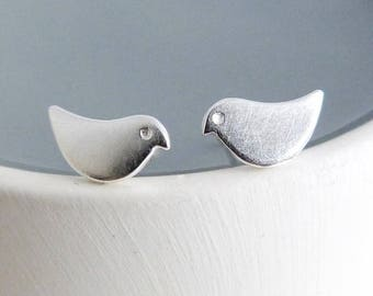 Little Bird Sterling silver stud earrings, handmade in the UK, contemporary jewellery, Cathy McCarthy Jewellery, Free UK delivery & gift box