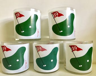 Vintage Set Of 5 Morgan 19th Hole Golf Double Old Fashion Cocktail Bar Drinking Glasses