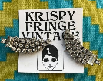 Free Shipping!: Vintage 1940's Trickling Rhinestone Clip On Earrings