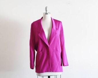 Vintage Evan Picone Bright Pink Silk Blazer / Textured Silk
