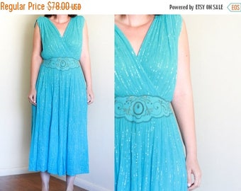25% OFF SALE Vintage 70's Gauze and Lurex Grecian Dress / Hippie Boho Gypsy / Fitted Waist / Festival Fashion S M