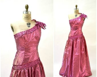 SALE Metallic 80s Prom Dress Pink Ball Gown Size Small// Vintage 80s Party Dress Pink Metallic Sequin Dress by Mike Benet Pageant Prom Dress