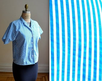 SALE 50% OFF Vintage White and Blue Striped Shirt// 80s Striped Shirt Blouse Button Down Cotton Shirt Size Medium