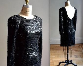 SALE VIntage Black Sequin Dress Size Medium// 80s Sequin Party Dress in Black size Medium// Black Body Con Dress