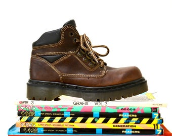Amazing 90s Brown Dr. Martens Boots Size Women 7 1/2 8 Hiking Boot// Vintage Doc Marten Brown HIking Boots Size 5 UK Made in England