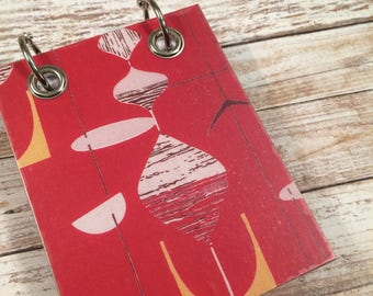 Recycled Notebook - Small Refillable Notepad - Retro Print - Upcycled Paper