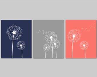 Dandelion Wall Art, Coral Navy Gray Bedroom Pictures, Prints Bathroom Artwork, Bedroom Wall Art, Flower Wall Art, Dandelion Set of 3