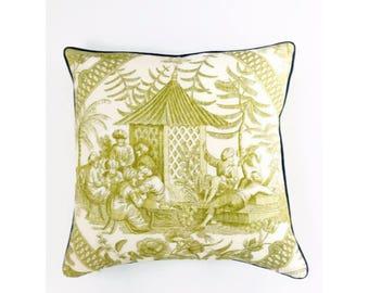 Citrine Toile Pillow Cover with Blue Piping