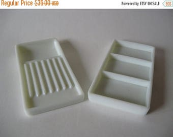 Summer Sale Two Rivers Wisconsin American Cabinet Co. vintage white milk glass tool trays medical dental industrial decor