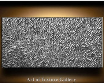 SALE Large Abstract Texture Painting 48 x 24 Original Modern Silver Pewter Carved Metallic Knife Oil by Je Hlobik