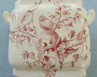 Red Transfer Ware Double Handled Ceramic Sugar Bowl with Lid and Different Nesting Bird Scene on each side - DK22N