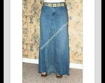 DELAROSA Custom to Your Size Long Jean Skirt size 0-2-4-6-8-10-12-14-16-18-20-22-24-26