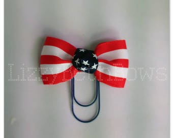Planner clip, bookmark, planner bow clip, bow bookmark, 4th of July bow, American flag, red white and blue bow clip, navy paper clip
