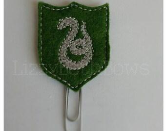 Planner clip, bookmark, planner feltie clip, felt bookmark, slytherin feltie clip, green Hogwarts house, harry potter inspired clip